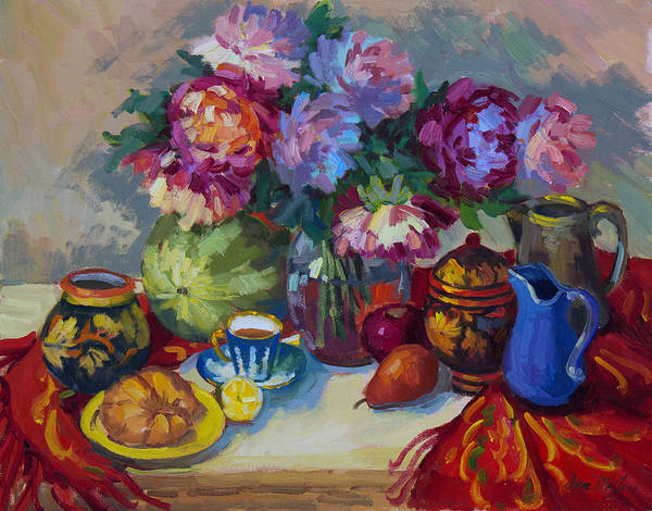 Ceramics Wall Art - Painting - Russian Still Life by Diane McClary