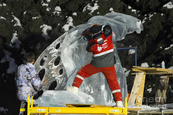 Ice Carving Photograph - Russian Team Carving Ice Sculpture by John Shaw