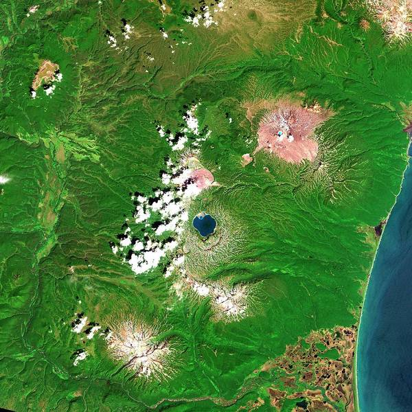 Kamchatka Photograph - Russian Volcanoes by Planetobserver/science Photo Library