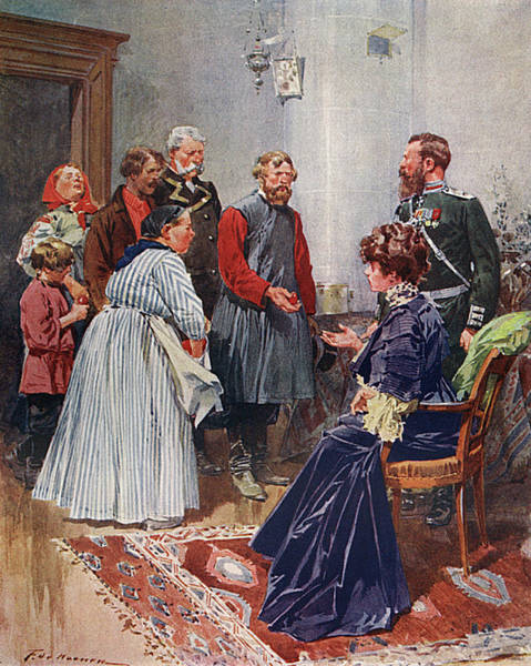 Wall Art - Drawing - Russians Presenting Easter Eggs To Each by Mary Evans Picture Library