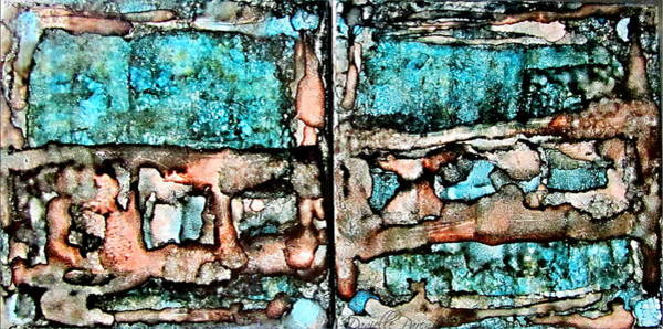 Painting - Rust And Aqua Alcohol Inks Abstract Duo by Danielle  Parent