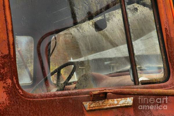 Photograph - Rusted Ford F-600 Cab Window by Adam Jewell