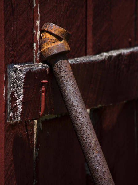 Photograph - Rusted Pipe And Red Barn by Rebecca Sherman
