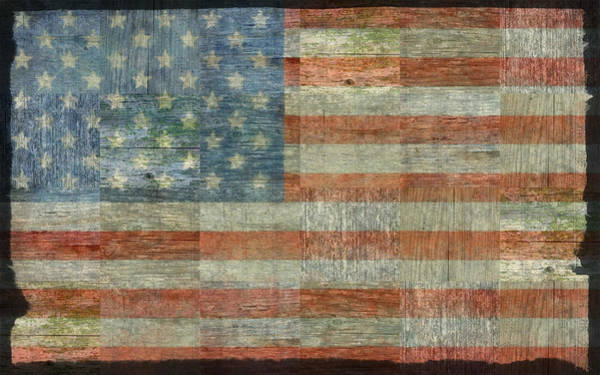 Photograph - Rustic American Flag by Michelle Calkins