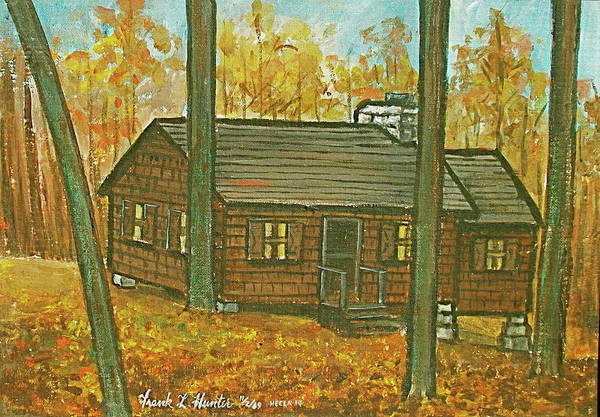 Painting - Rustic Cabin At Lake Hope Ohio by Frank Hunter