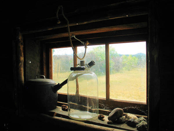 Photograph - Rustic Cabin Window Sill by Gerry Bates