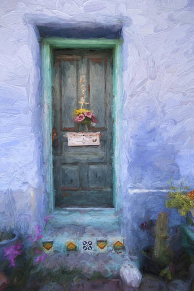 Neighborhood Photograph - Rustic Door In Tucson Barrio Painterly Effect by Carol Leigh