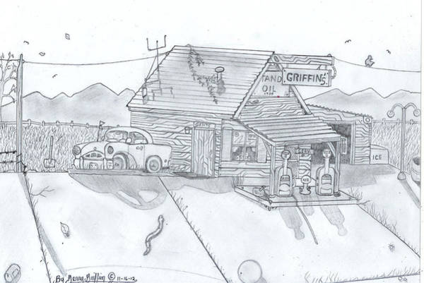 Gas Station Drawing - Rustic Gas Station Days Of Past by Gerald Griffin