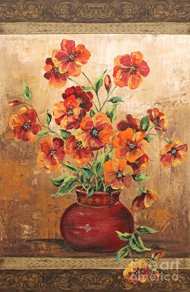 Emboss Wall Art - Painting - Rustic Red Poppies by Jean Plout
