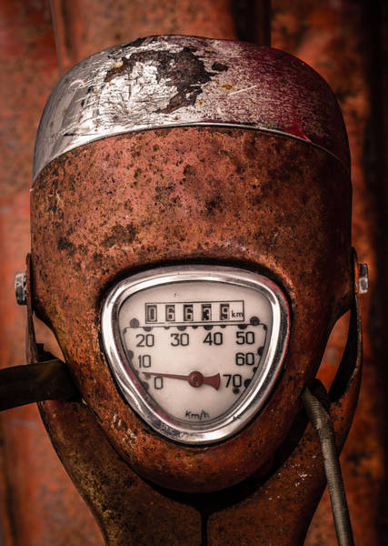 Wall Art - Photograph - Rustic Speedometer Dial On Vintage Scooter by Mr Doomits