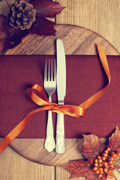 Thanksgiving Photograph - Rustic Table Setting For Autumn by Amanda Elwell