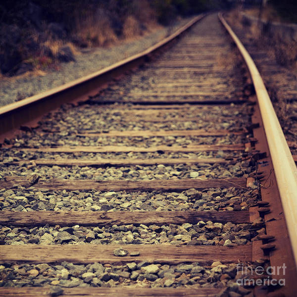 Photograph - Rustic Train Track - Hipster Photo Square by Charmian Vistaunet