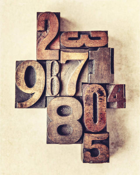 Wall Art - Photograph - Rustic Typesetting Numbers 0 Through 9 In Warm Brown by Lisa Russo