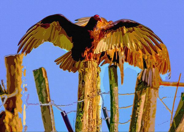 Fence Post Digital Art - Rustic Wings by Brian Stevens