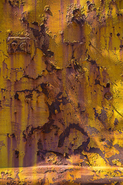 Dent Photograph - Rusting Yellow Metal by Garry Gay