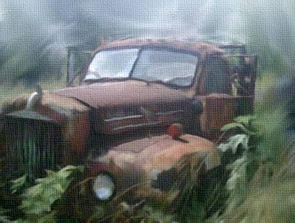 Mixed Media - Rusty Abandoned Mack Farm Truck by Dennis Buckman