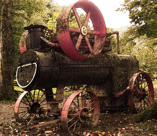Photograph - Rusty Antique Steam Engine by Michael Spano