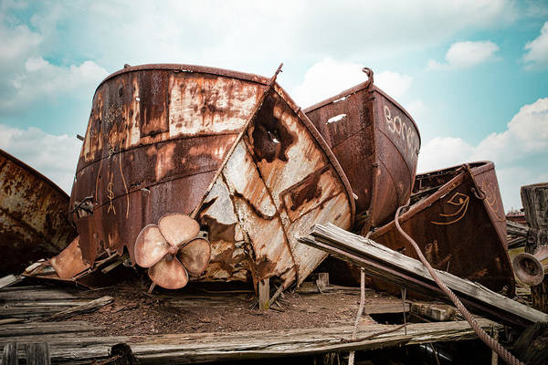 Photograph - Rusty Boat Hulls - Nautical Vessels by Gary Heller