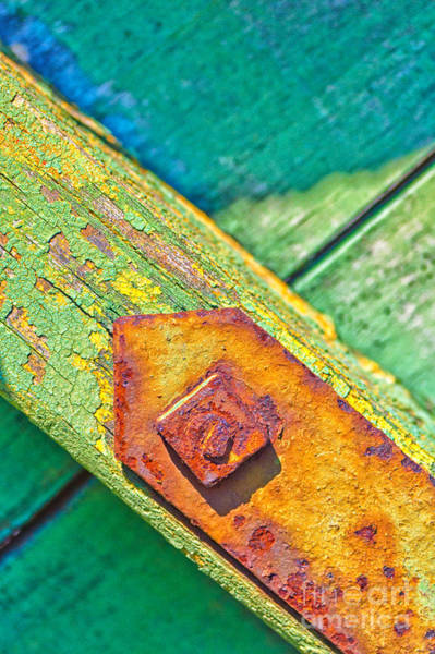 Photograph - Rusty Bolt On Rotten Green Wood by Silvia Ganora