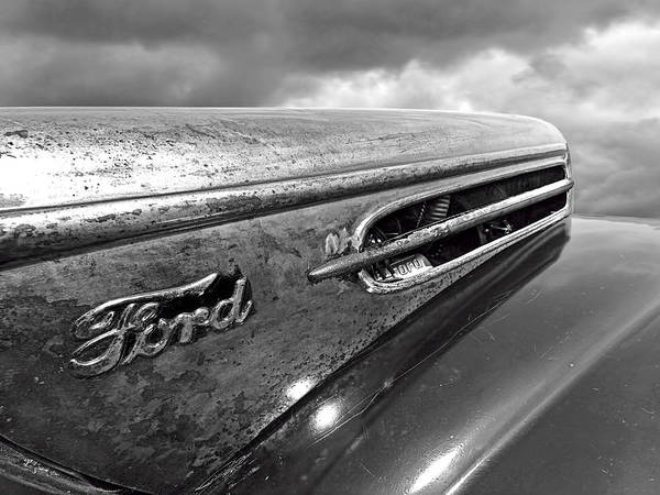Photograph - Rusty Ford Hood And Fender 1942 Black And White by Gill Billington