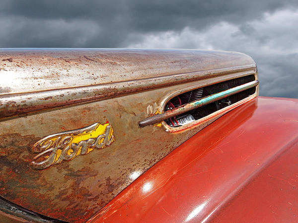 Photograph - Rusty Ford Hood And Fender 1942 by Gill Billington