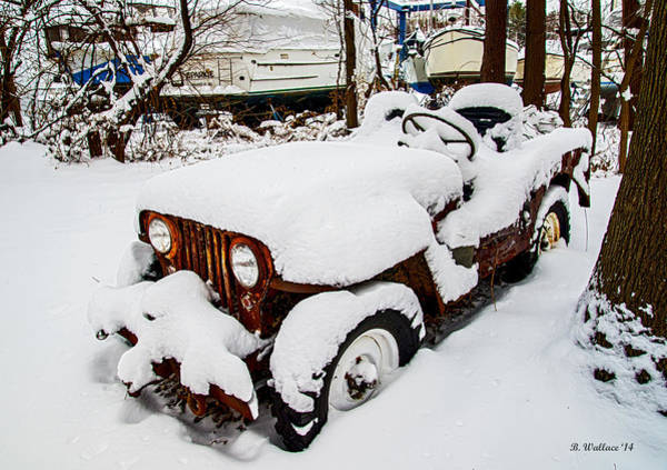 Ish Wall Art - Photograph - Rusty Jeep In Snow by Brian Wallace