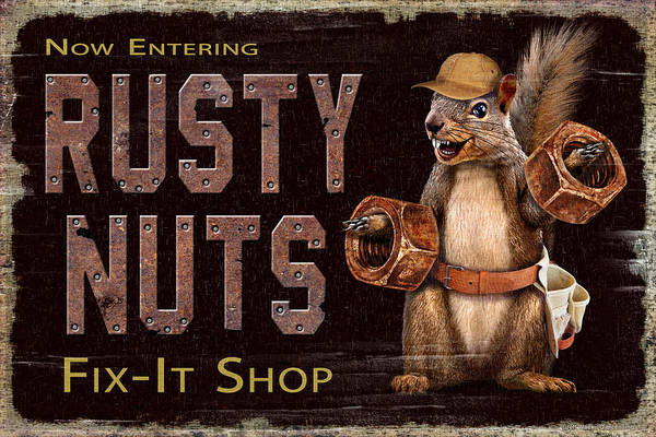 Man Cave Wall Art - Painting - Rusty Nuts by JQ Licensing