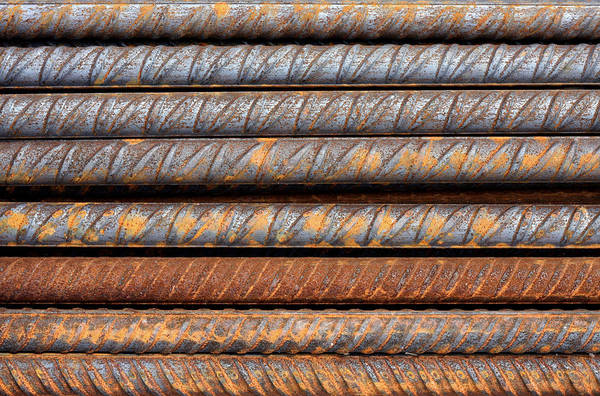 Photograph - Rusty Rebar Rods Metallic Pattern by Dreamland Media
