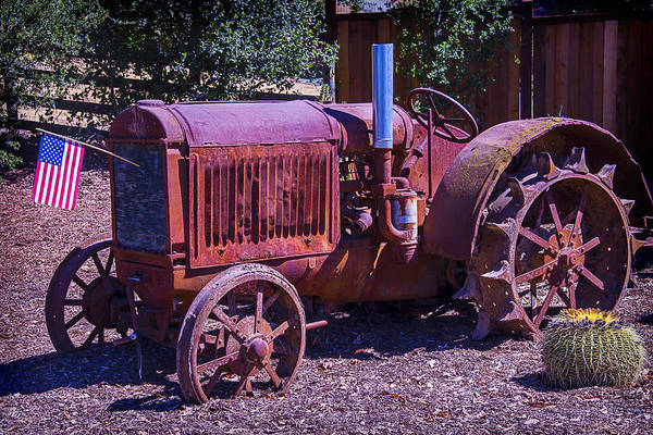 Wall Art - Photograph - Rusty Tractor With American Flag by Garry Gay