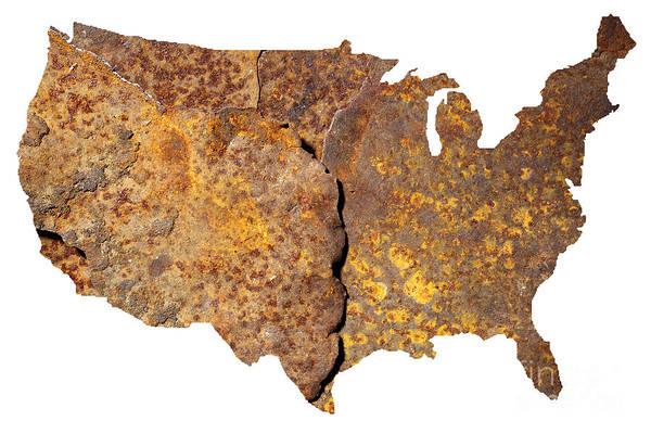 Contour Photograph - Rusty Usa Map by Tony Cordoza