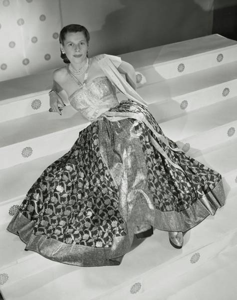 July 15th Photograph - Ruth Gordon Sitting On Stairs by Horst P. Horst
