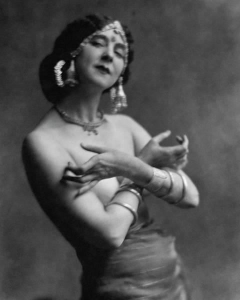 Photograph - Ruth St. Denis Wearing A Headdress by Nickolas Muray