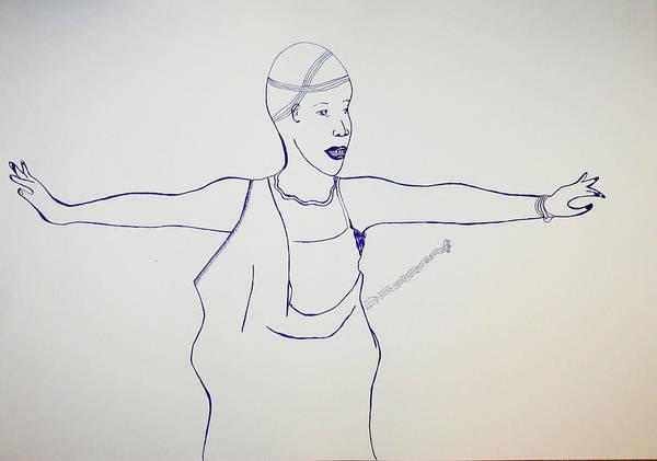 Drawing - Rwanda Intore Dance - Rwanda by Gloria Ssali