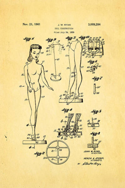 Dressmaker Wall Art - Photograph - Ryan Barbie Doll Patent Art 1961 by Ian Monk