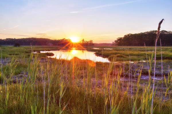 Coastal Marshes Photograph - Rye Marsh Sunset by Eric Gendron