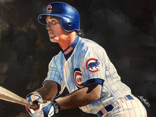 Vintage Chicago Painting - Ryne Sandberg - Chicago Cubs by Michael Pattison
