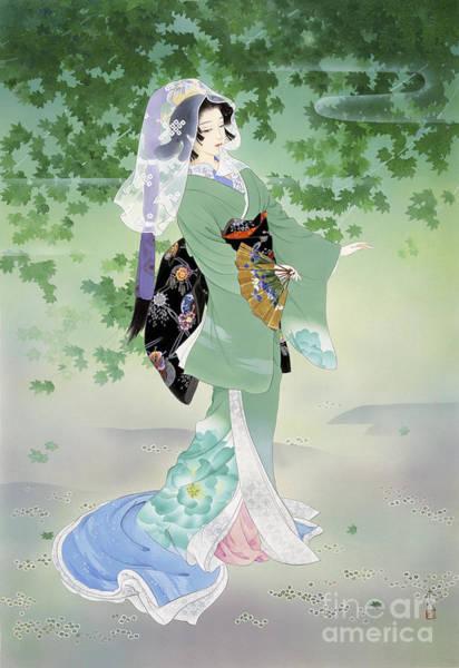 Kimono Digital Art - Ryokufu Emerald Wind by MGL Meiklejohn Graphics Licensing