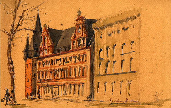 Wall Art - Painting - Saalhof And The Rententurm Frankfurt Am Main by Juan  Bosco