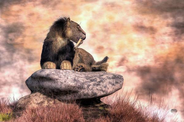 Digital Art - Saber Tooth At Rest by Daniel Eskridge