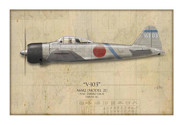 Tinder Wall Art - Painting - Saburo Sakai A6m Zero - Map Background by Craig Tinder