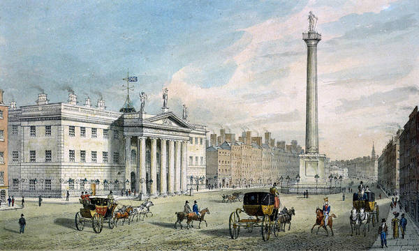 Carriage Photograph - Sackville Street, Dublin, Showing The Post Office And Nelsons Column by Samuel Frederick Brocas