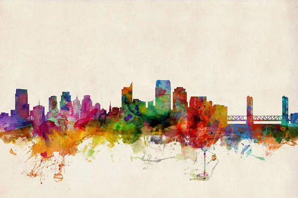 Watercolour Digital Art - Sacramento California Skyline by Michael Tompsett