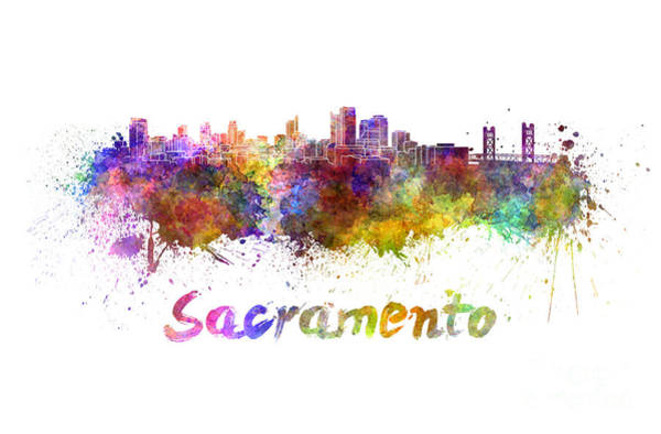 Sacramento Painting - Sacramento Skyline In Watercolor by Pablo Romero