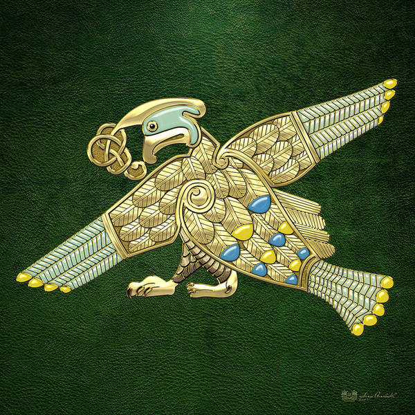 Digital Art - Sacred Celtic Bird On Green by Serge Averbukh