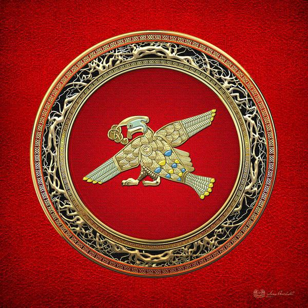 Digital Art - Sacred Celtic Bird On Red by Serge Averbukh