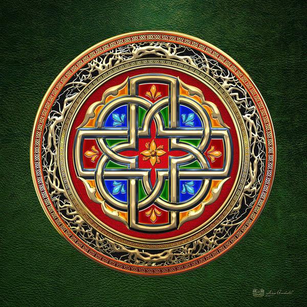 Digital Art - Sacred Celtic Cross On Green by Serge Averbukh