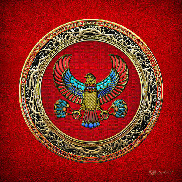 Amulet Digital Art - Sacred Egyptian Falcon by Serge Averbukh