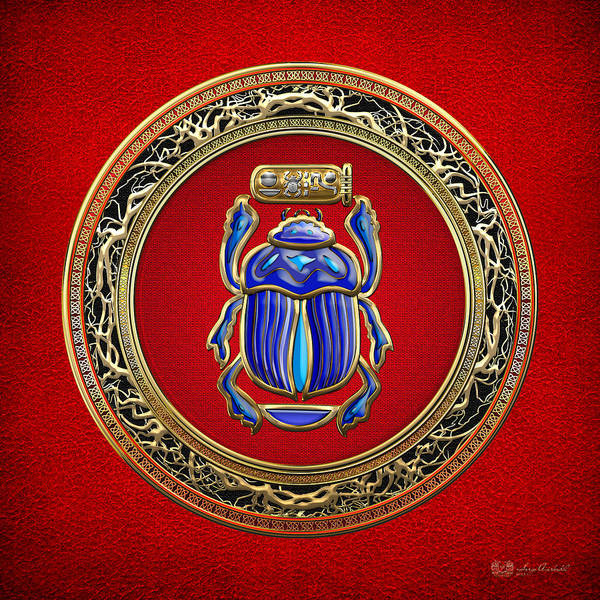 Amulet Digital Art - Sacred Egyptian Scarab by Serge Averbukh