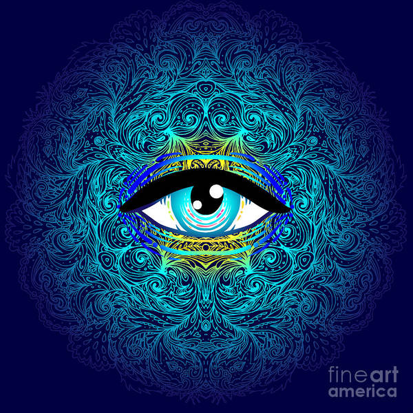 Mystery Digital Art - Sacred Geometry Symbol With All Seeing by Gorbash Varvara
