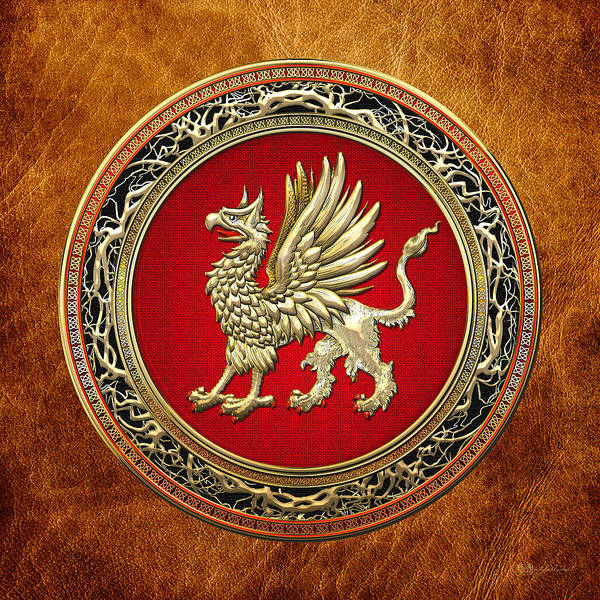 Digital Art - Sacred Gold Griffin On Brown Leather  by Serge Averbukh